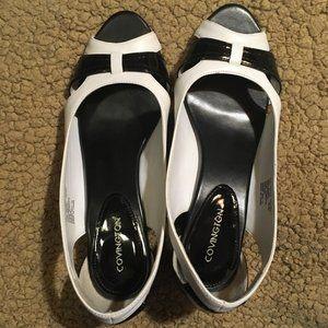 Black and White Covington Patent Heels